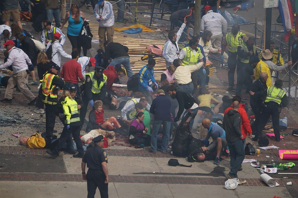 The Boston Marathon on April 16, 2013 after explosions set off by Tamerlan Tsarnaev and his younger brother Dzhokhar Tsarnaev.