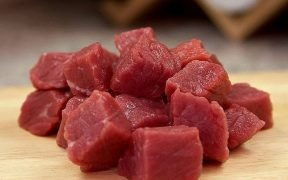 Image of raw meat cubed