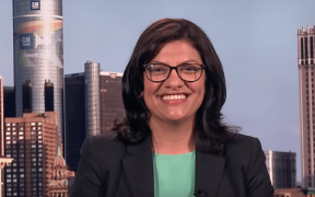 Photo of Rashida Tlaib during an interview with MSNBC.