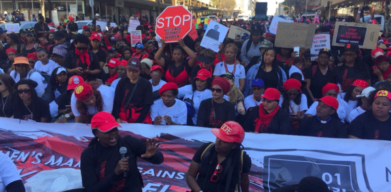 Women in South Africa protest and march against gender based violence.