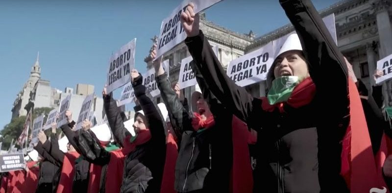 YouTube screenshot of Argentinian women marching for abortion rights