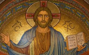 photo of a golden mosaic of Jesus Christ