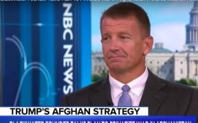 Screenshot of Erik Prince, Blackwater founder, as he talks on MSNBC about privatizing the Afghanistan War