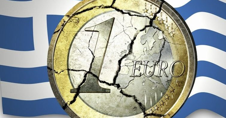 Image of Greek Flag with Euro currency.
