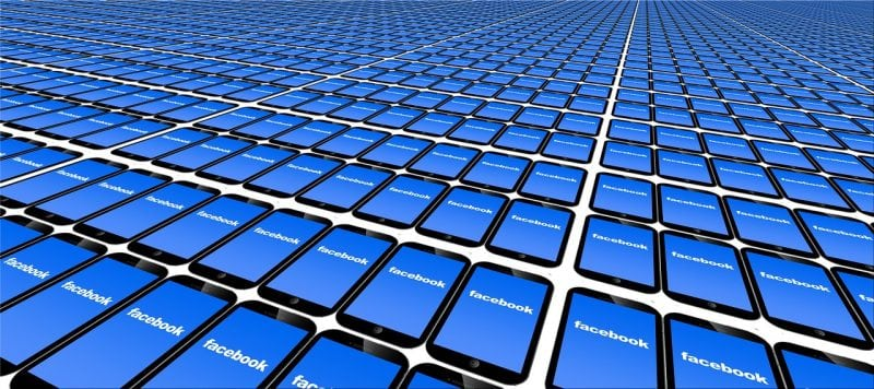 picture of cell phones with Facebook on them