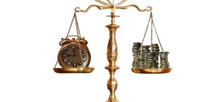 Image of a scale with coins weighing on one side, and a clock on the other.
