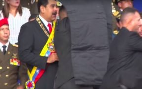 Maduro being protected by shields after explosion