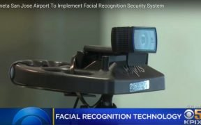 YouTube screenshot of new facial recognition device/small camera at San Jose airport