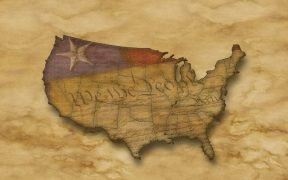 Image of the US Constitution laid over the USA map
