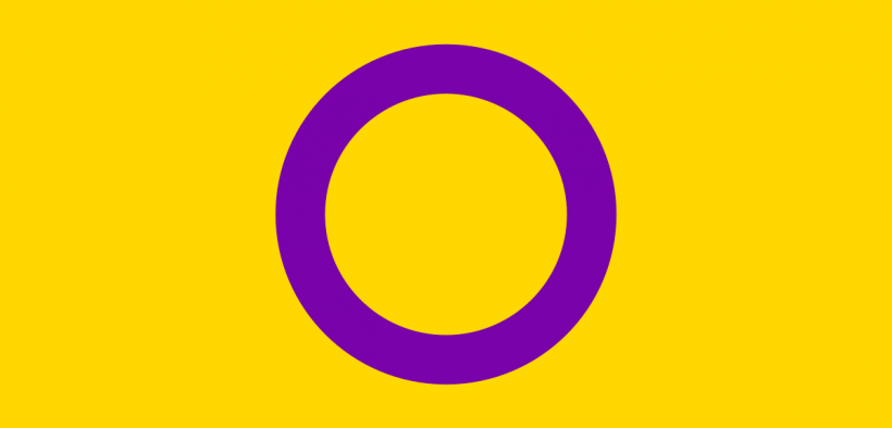 Yellow flag with a purple circle which has become a symbol of the intersex rights movement