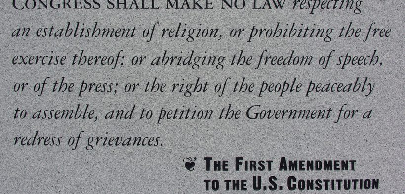 Photo of a plaque in a Philadelphia park reciting the First Amendment rights to a free press, freedom of religion and free speech.