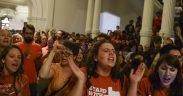 Photo of women protesting Texas SB 5 which would impose strict abortion regulations.