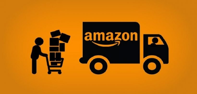 Illustration of an Amazon delivery truck and delivery person.