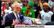 Photo of the head of the South African Dagga Party as he talks about the court ruling to legalize marijuana.