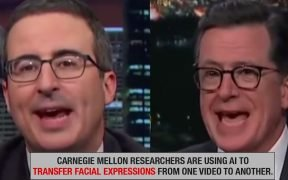 Screenshot of John Oliver's facial expressions transferred onto Stephen Colbert in a deepfake video