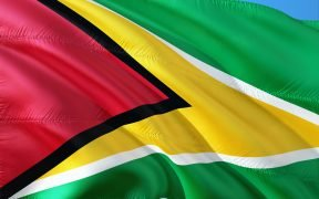 Image of green, red and yellow Guyanese flag