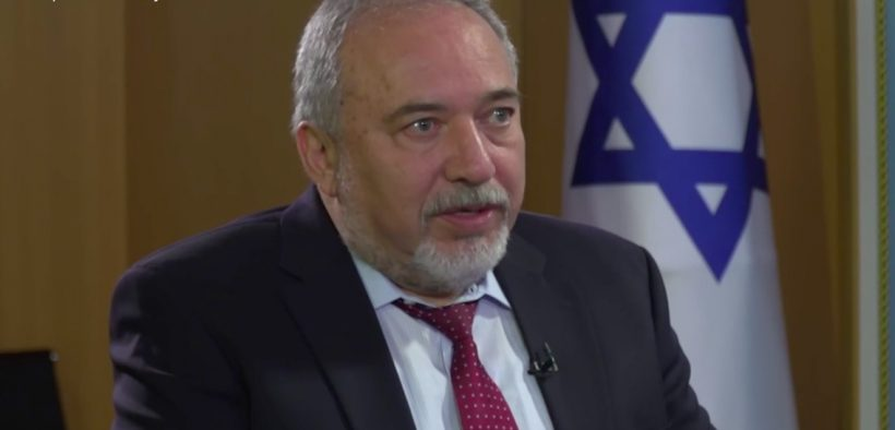 Screenshot of Israel Defense Minister during interview with Radio Free Europe