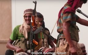 Photo of Yemen troops preparing to take on Houthi rebels in the Yemen War.