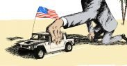 invisible hand driving hummer with American flag