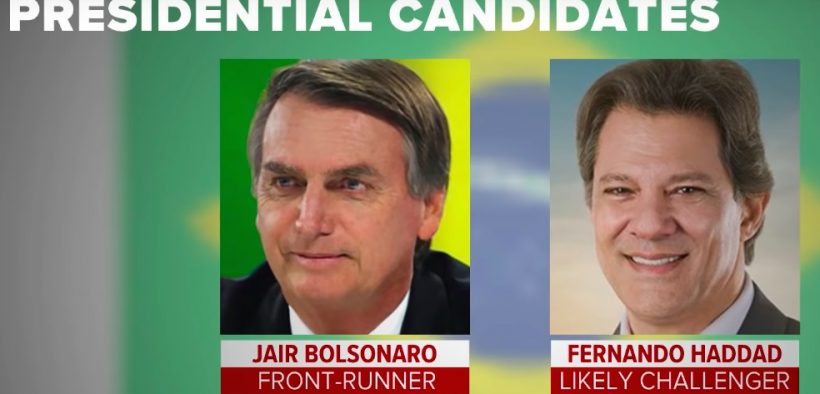 Split Screen photo of Jair Bolsonaro and Fernando Haddad, the two main candidates in Brazil's second round of the presidential election.