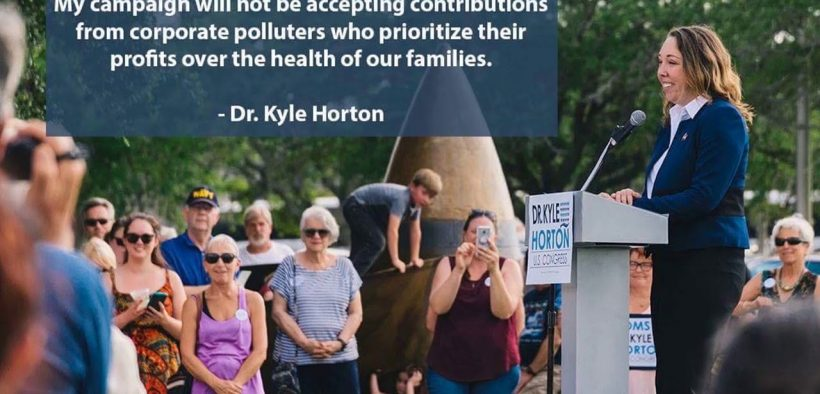 photo of Dr. Kyle Horton speaking at an event in North Carolina where she is running for Congress