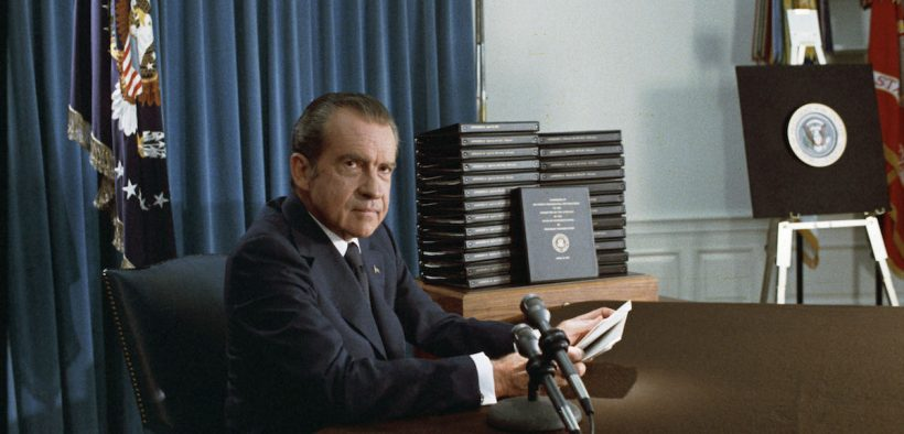 New Watergate Documentary: President Nixon with his edited transcripts of the White House Tapes subpoenaed by the Special Prosecutor, during his speech to the Nation on Watergate