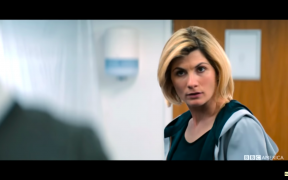 Screenshot of Jodie Whittaker who plays Doctor Who, the first female to do so.