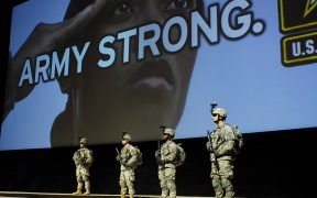 "Army Secretary Dr. Francis J. Harvey unveiled the effort to tell the Army about the ""Army Strong"" campaign, a key component of the Army's recruiting efforts, during an opening ceremony for the 2006 Association of the U.S. Army Annual Meeting Oct. 9 in Washington, D.C"