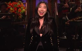 Screenshot of Awkwafina giving her opening monologue on SNLA