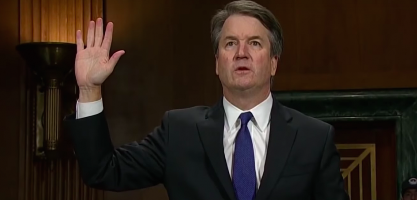 Brett Kavanaugh swearing in before his hearing in front of the Senate Judiciary Committee