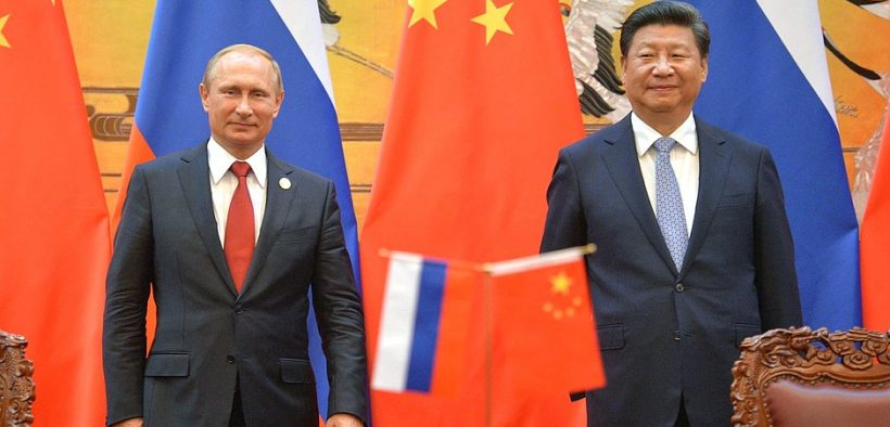 Russian President Vladimir Putin with President of China Xi Jinping at the signing documents ceremony following Russian-Chinese talks in 2015.