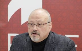 "Saudi journalist, Global Opinions columnist for the Washington Post, and former editor-in-chief of Al-Arab News Channel Jamal Khashoggi offers remarks during POMED's ""Mohammed bin Salman's Saudi Arabia: A Deeper Look."" March, 2018."