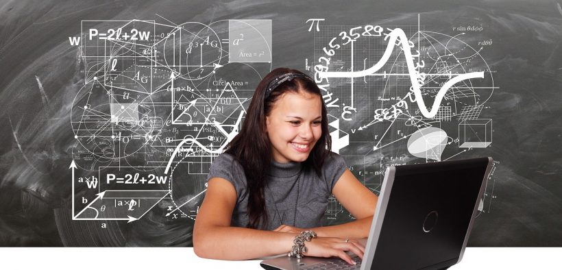 girl learning on a computer