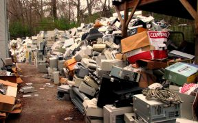photo of a pile of e-waste or electronic waste