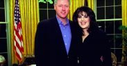Monica Lewinsky posing with Bill Clinton in the Oval Office