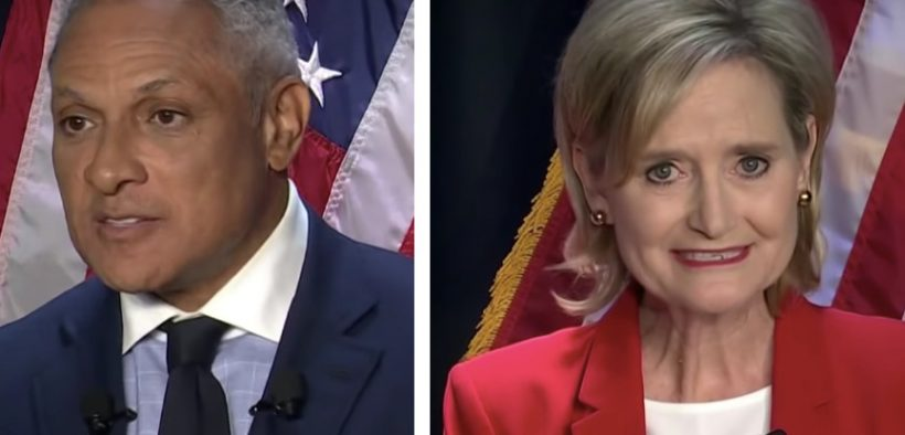 Mike Epsy and Cindy Hdye-Smith during a 2018 Mississippi Senate debate.