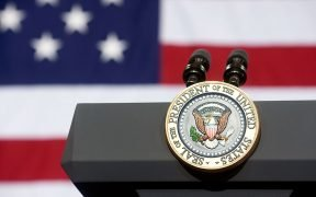 Empty podium with White House Presidential Seal