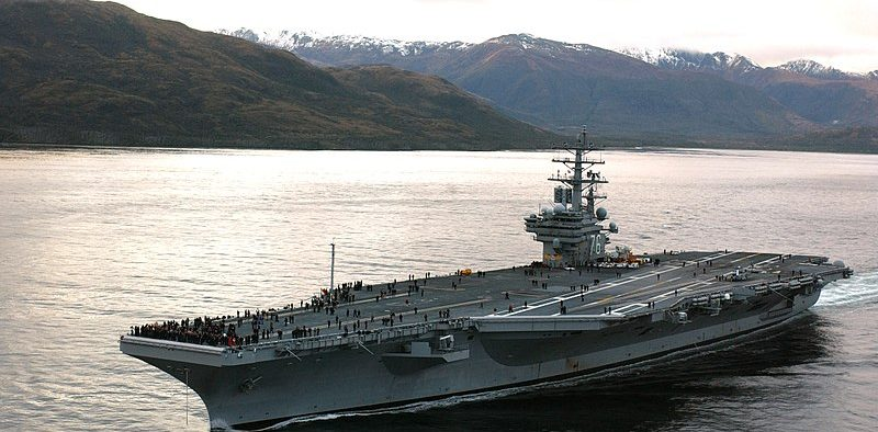 USS Ronald Reagan traveling through the Straits of Magellan, to San Diego, CA, in a transfer move.