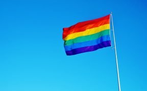Photo of the LGBTQ rainbow flag.