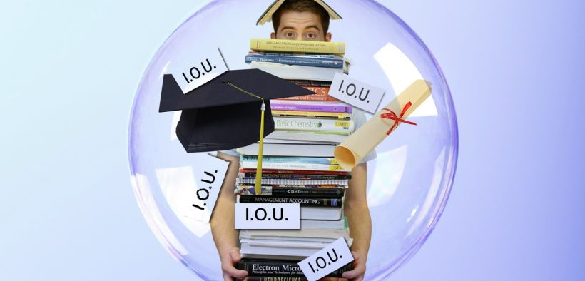 student struggling to balance books and debt