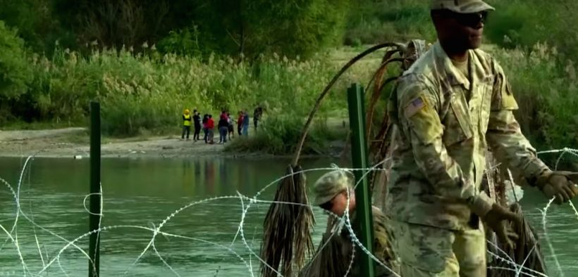 US troops placed barbed wire at the US Mexico border along the Rio Grande near the city of Laredo.