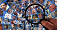 graphic of magnifying glass searching pictures of people