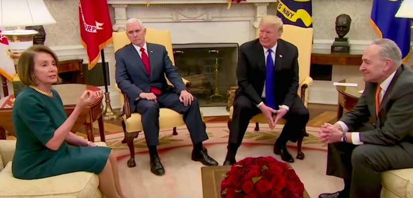 House Minority Leader Nancy Pelosi (D-Calif.) and Senate Minority Leader Charles E. Schumer (D-N.Y.) clashed Dec. 11 with President Trump over border security, during a meeting in the Oval Office.