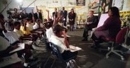 President George W. Bush participates in a reading demonstration the morning of Tuesday, September 11, 2001, at Emma E. Booker Elementary School in Sarasota, Fla.
