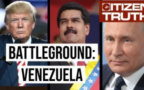 Split screen of Donald Trump, Nicolas Maduro and Vladamir Putin with the words Battleground: Venezuela over it