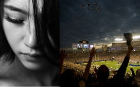 photo of sad girl and super bowl sunday stadium and cheering fans