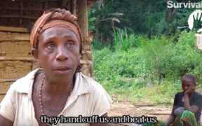 WWF and the European Commission say they are not aware of human rights violations in the creation of Messok Dja national park. Survival says: Listen to Odette. She shares her experience of beatings and violence at the hands of park rangers when her family tries to enter the forest to fish or collect mangoes for food. As her story shows, the Baka tribe have not given their consent to the park. (Image via YouTube)