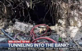 screenshot of the entrance of a tunnel heading towards a Chase bank in Florida in an apparent attempt at a bank heist