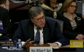 Top Photo | Screen shot from William Barr's confirmation hearing.