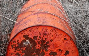 A red oil drum in grass
